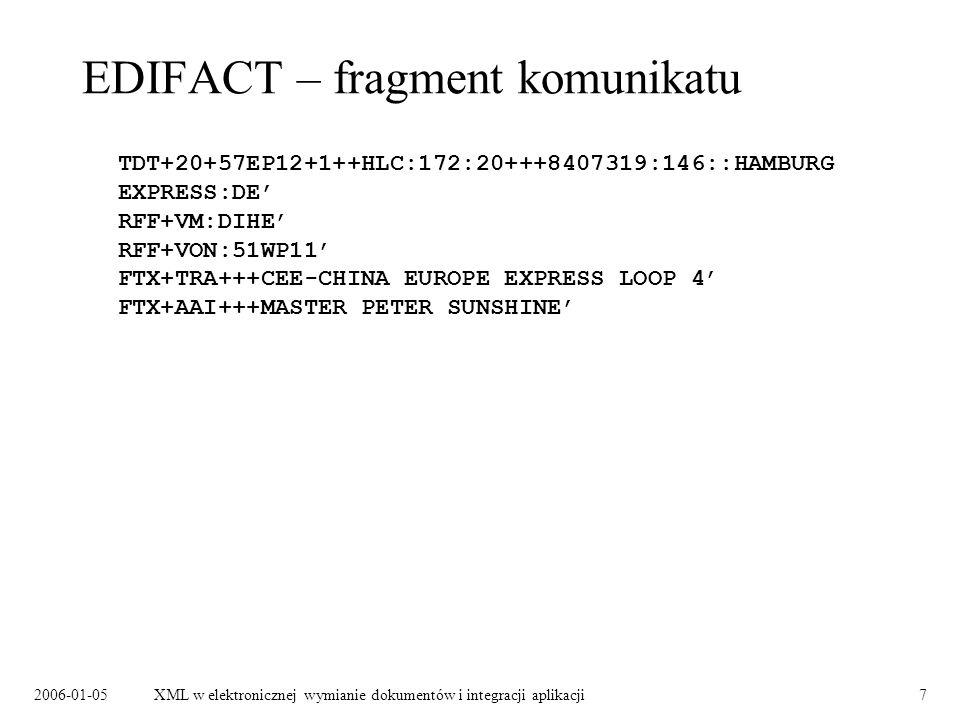 2006-01-05XML w elektronicznej wymianie dokumentów i integracji aplikacji7 EDIFACT – fragment komunikatu TDT+20+57EP12+1++HLC:172:20+++8407319:146::HA