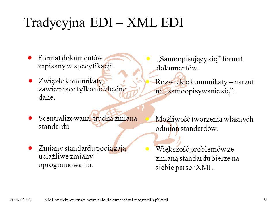 2006-01-05XML w elektronicznej wymianie dokumentów i integracji aplikacji9 Tradycyjna EDI – XML EDI Format dokumentów zapisany w specyfikacji. Samoopi