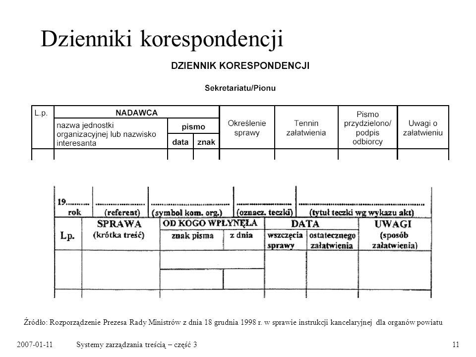 2007-01-11Systemy zarządzania treścią – część 311 Dzienniki korespondencji Źródło: Rozporządzenie Prezesa Rady Ministrów z dnia 18 grudnia 1998 r. w s