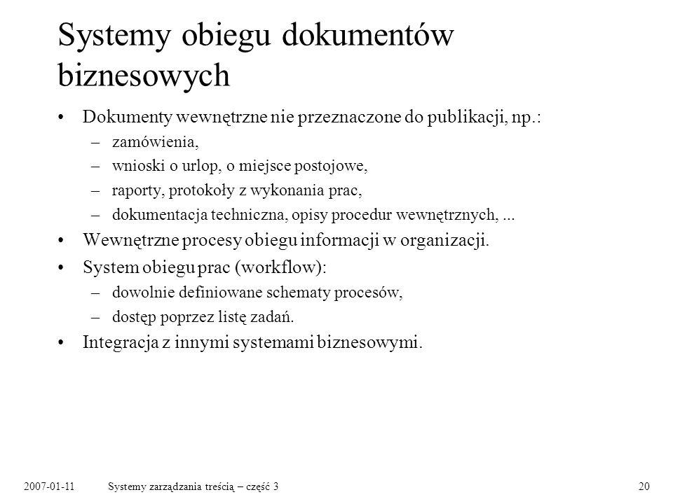 2007-01-11Systemy zarządzania treścią – część 320 Systemy obiegu dokumentów biznesowych Dokumenty wewnętrzne nie przeznaczone do publikacji, np.: –zam