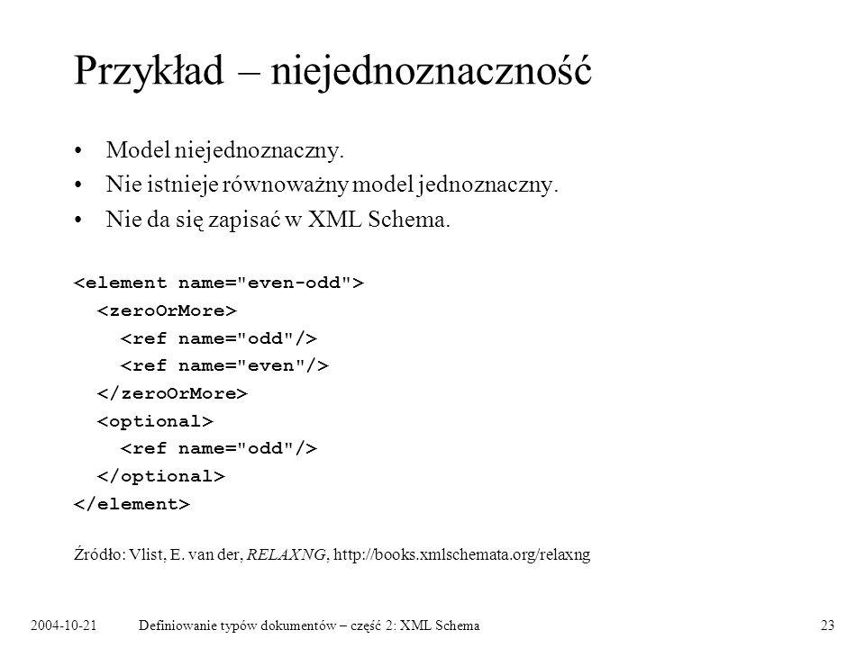 2004-10-21Definiowanie typów dokumentów – część 2: XML Schema24 Examplotron Definiowanie schematu przez przykład: –instancja dokumentu definiuje schemat, –konwencje, np.: powtórzenie elementu oznacza dowolną krotność, przykładowa zawartość elementu definiuje typ.