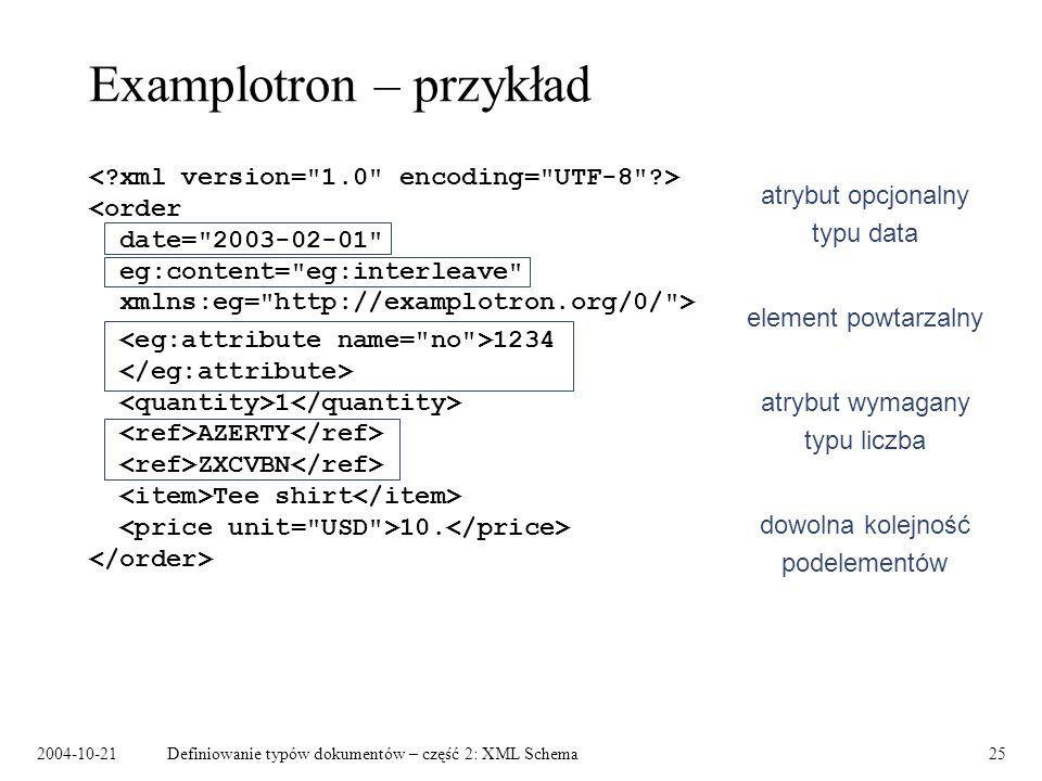2004-10-21Definiowanie typów dokumentów – część 2: XML Schema25 Examplotron – przykład 1234 1 AZERTY ZXCVBN Tee shirt 10. atrybut opcjonalny typu data