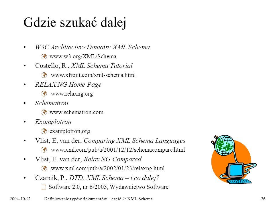2004-10-21Definiowanie typów dokumentów – część 2: XML Schema26 Gdzie szukać dalej W3C Architecture Domain: XML Schema www.w3.org/XML/Schema Costello, R., XML Schema Tutorial www.xfront.com/xml-schema.html RELAX NG Home Page www.relaxng.org Schematron www.schematron.com Examplotron examplotron.org Vlist, E.