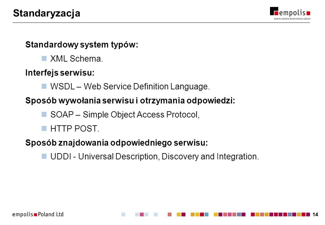 14 Standaryzacja Standardowy system typów: XML Schema.