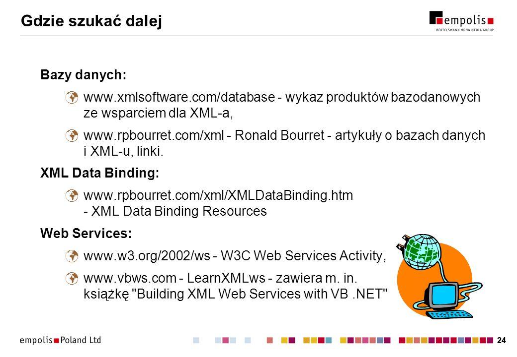 24 Gdzie szukać dalej Bazy danych: www.xmlsoftware.com/database - wykaz produktów bazodanowych ze wsparciem dla XML-a, www.rpbourret.com/xml - Ronald Bourret - artykuły o bazach danych i XML-u, linki.