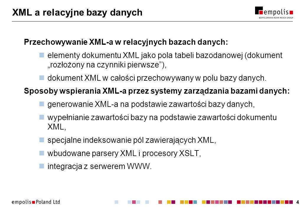44 XML a relacyjne bazy danych Przechowywanie XML-a w relacyjnych bazach danych: elementy dokumentu XML jako pola tabeli bazodanowej (dokument rozłożony na czynniki pierwsze), dokument XML w całości przechowywany w polu bazy danych.