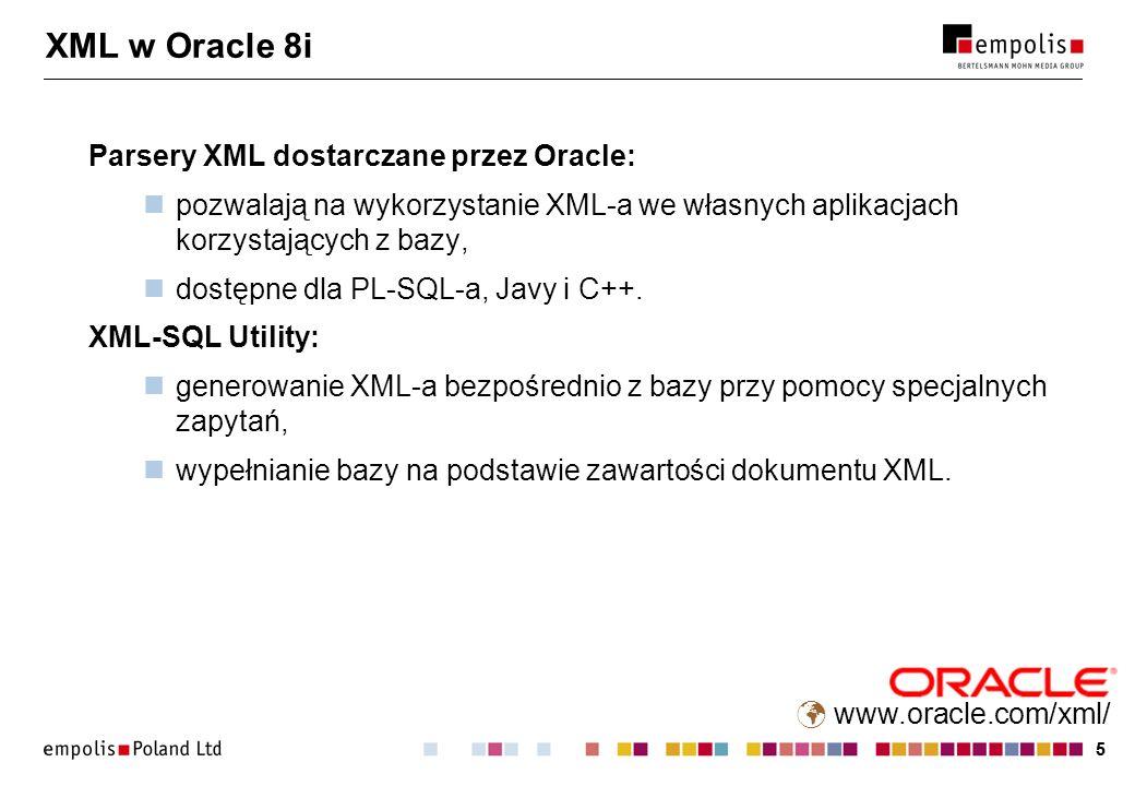 55 XML w Oracle 8i Parsery XML dostarczane przez Oracle: pozwalają na wykorzystanie XML-a we własnych aplikacjach korzystających z bazy, dostępne dla PL-SQL-a, Javy i C++.