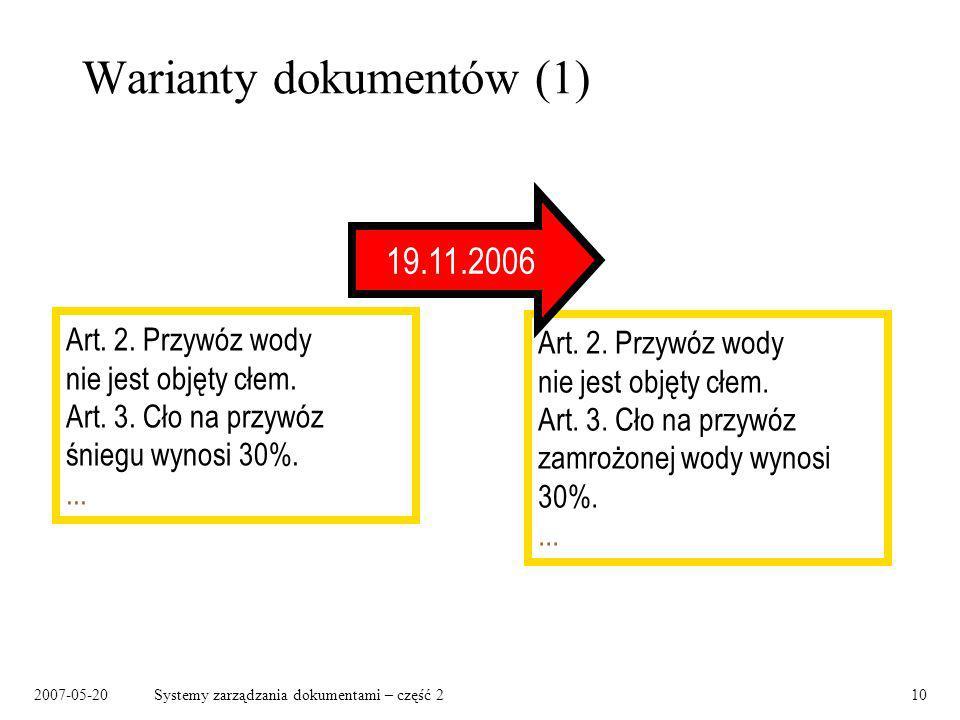 2007-05-20Systemy zarządzania dokumentami – część 210 Warianty dokumentów (1) Art. 2. Przywóz wody nie jest objęty cłem. Art. 3. Cło na przywóz śniegu