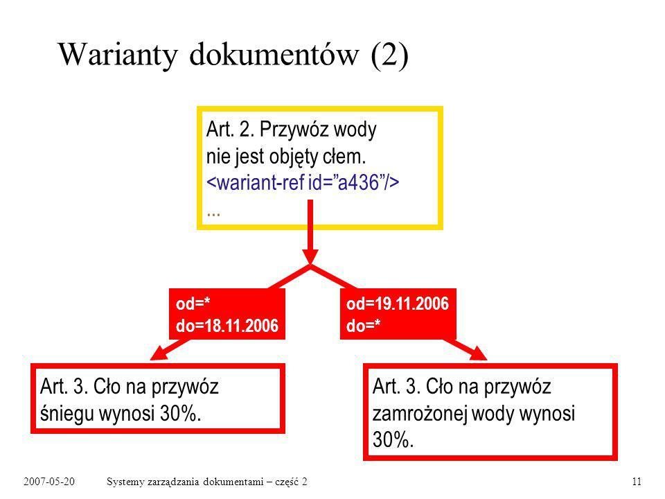 2007-05-20Systemy zarządzania dokumentami – część 211 Warianty dokumentów (2) Art. 2. Przywóz wody nie jest objęty cłem.... Art. 3. Cło na przywóz zam