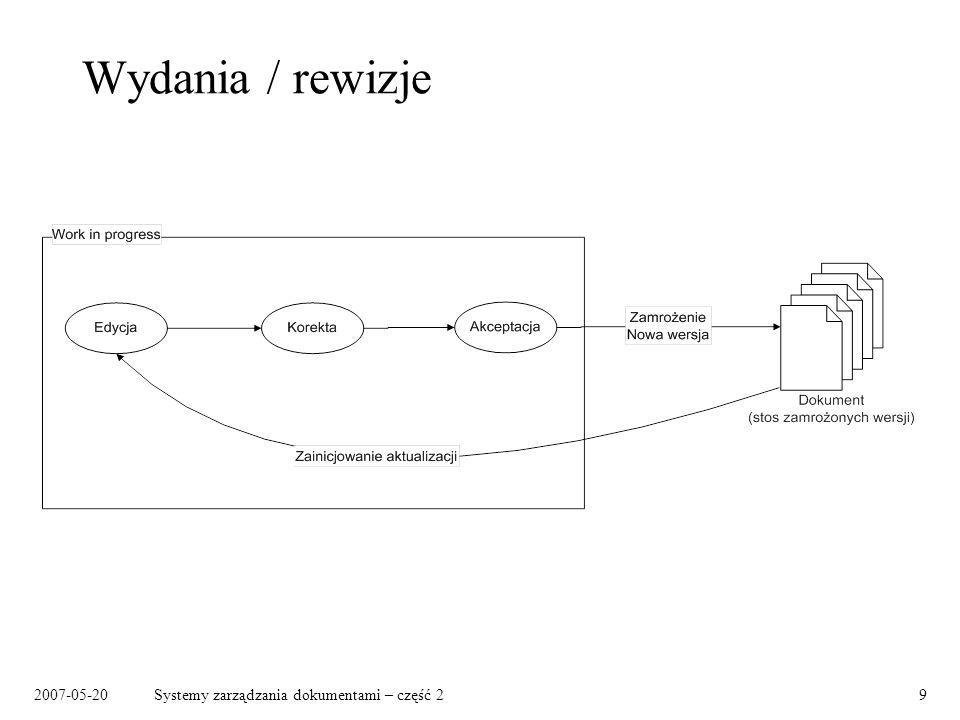 2007-05-20Systemy zarządzania dokumentami – część 210 Warianty dokumentów (1) Art.