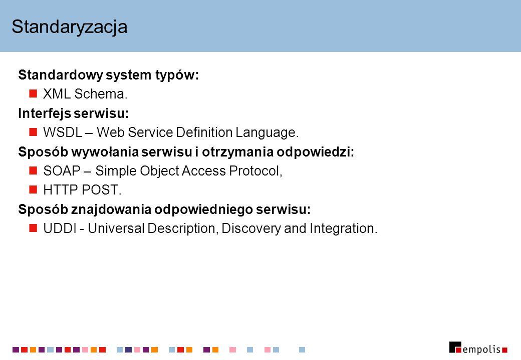 Standaryzacja Standardowy system typów: XML Schema. Interfejs serwisu: WSDL – Web Service Definition Language. Sposób wywołania serwisu i otrzymania o