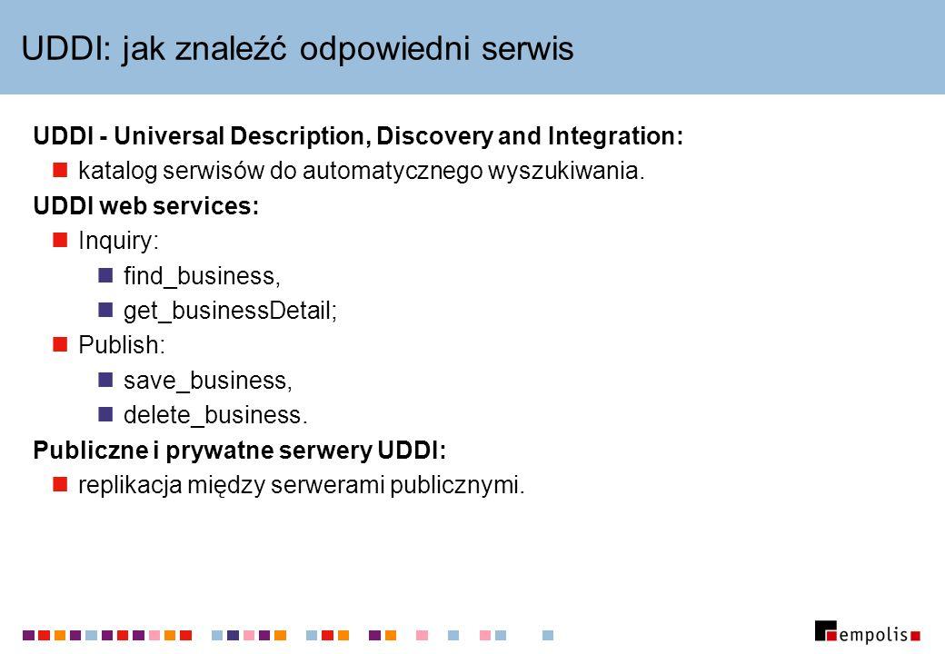 UDDI: jak znaleźć odpowiedni serwis UDDI - Universal Description, Discovery and Integration: katalog serwisów do automatycznego wyszukiwania. UDDI web