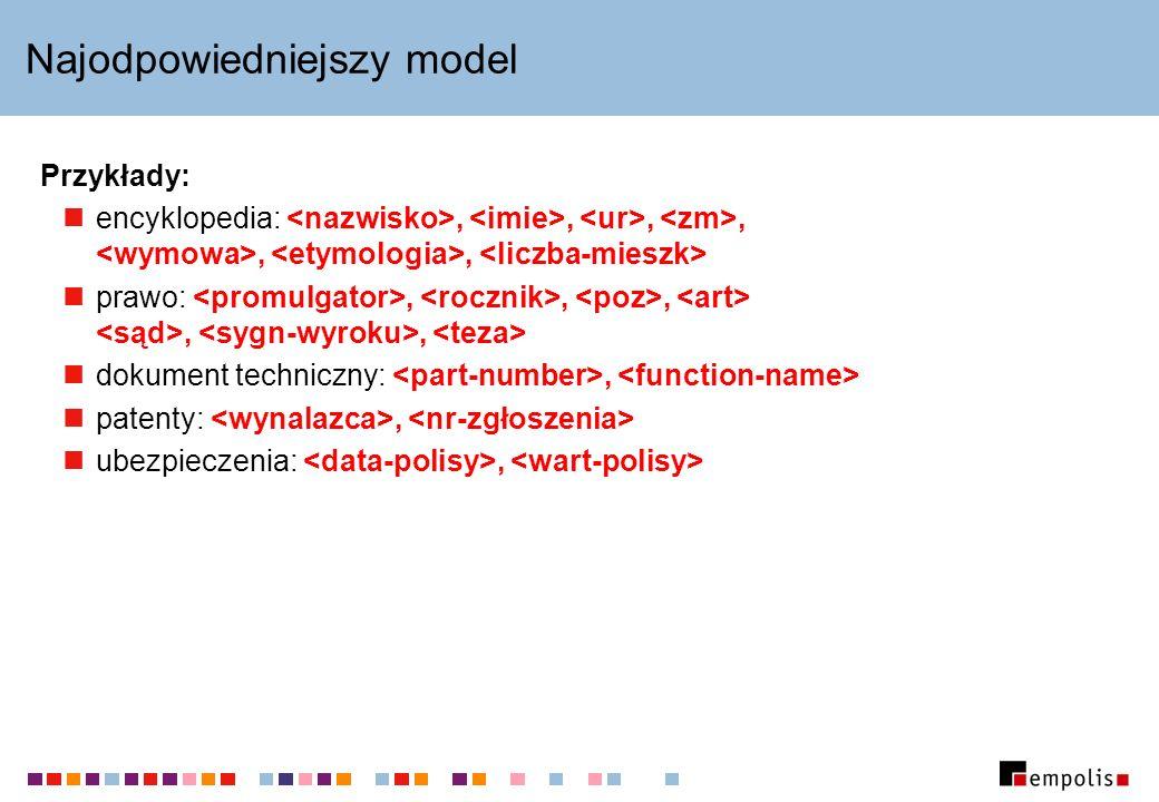Najodpowiedniejszy model Przykłady: encyklopedia:,,,,,, prawo:,,,,, dokument techniczny:, patenty:, ubezpieczenia:,