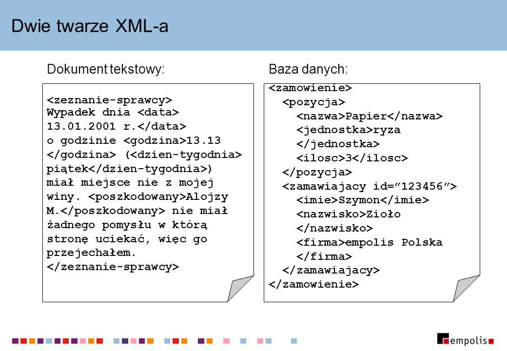 Dwie twarze XML-a Baza danych:Dokument tekstowy: Papier ryza 3 Szymon Zioło empolis Polska Wypadek dnia 13.01.2001 r. o godzinie 13.13 ( piątek ) miał