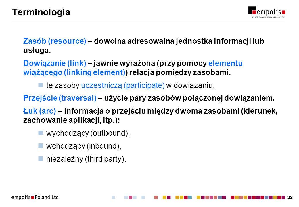 22 Terminologia Zasób (resource) – dowolna adresowalna jednostka informacji lub usługa.