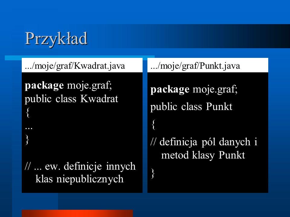 Przykład package moje.graf; public class Kwadrat {... } //... ew. definicje innych klas niepublicznych package moje.graf; public class Punkt { // defi
