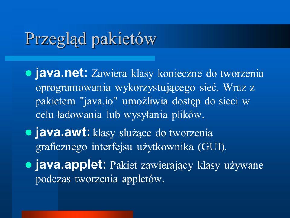 Przegląd pakietów java.net: Zawiera klasy konieczne do tworzenia oprogramowania wykorzystującego sieć. Wraz z pakietem