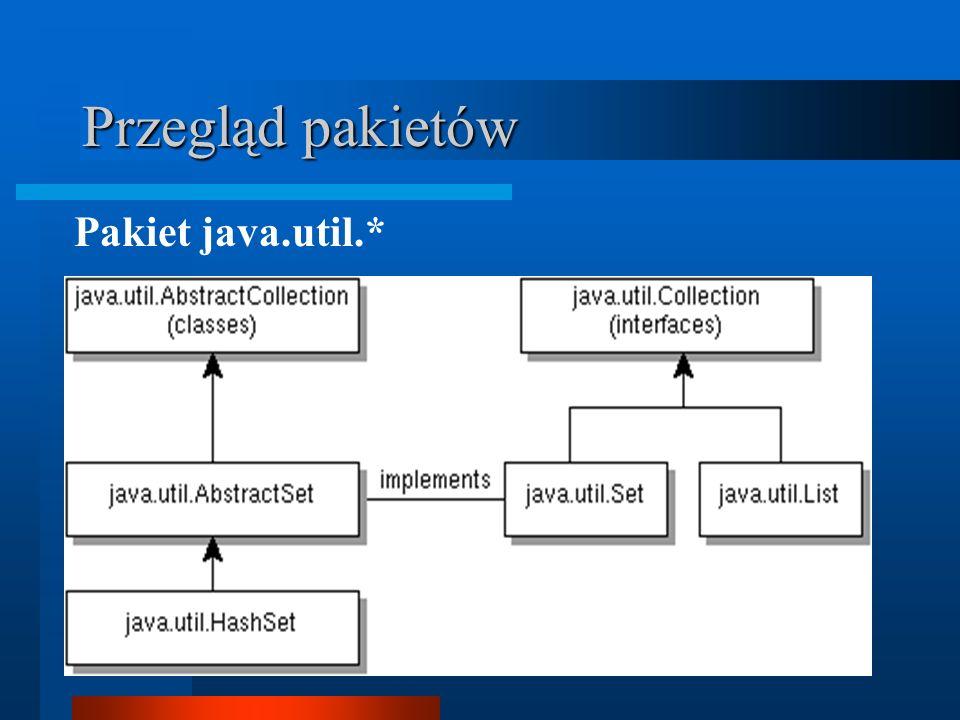 Przegląd pakietów Pakiet java.util.*