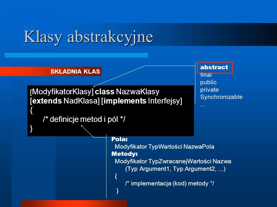 Klasy abstrakcyjne [ ModyfikatorKlasy] class NazwaKlasy [extends NadKlasa] [implements Interfejsy] { /* definicje metod i pól */ } SKŁADNIA KLAS abstr
