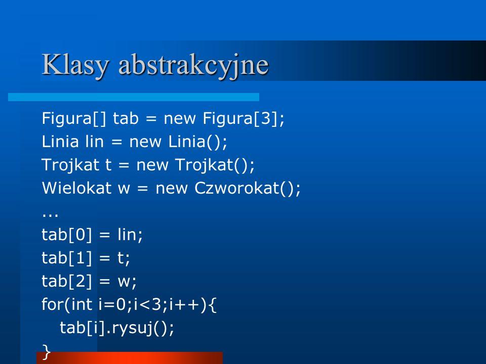 Klasy abstrakcyjne Figura[] tab = new Figura[3]; Linia lin = new Linia(); Trojkat t = new Trojkat(); Wielokat w = new Czworokat();... tab[0] = lin; ta