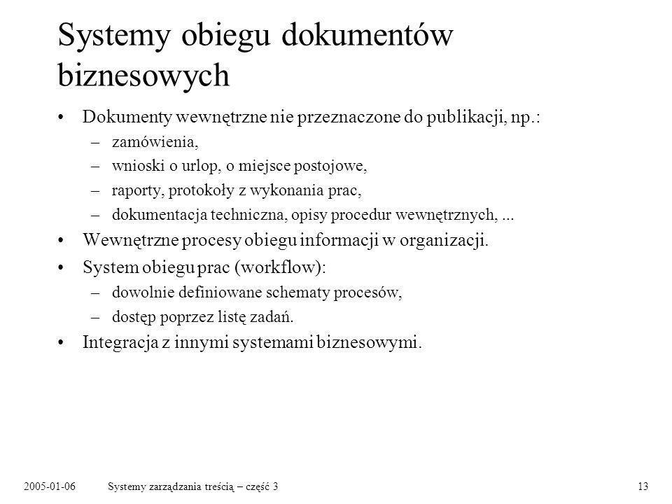 2005-01-06Systemy zarządzania treścią – część 313 Systemy obiegu dokumentów biznesowych Dokumenty wewnętrzne nie przeznaczone do publikacji, np.: –zam