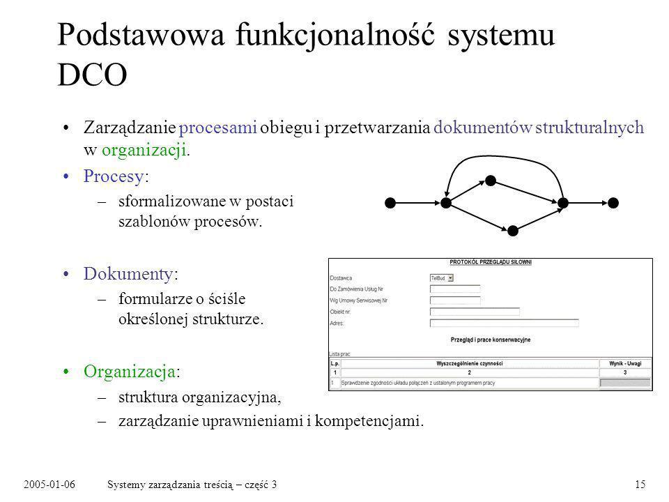 2005-01-06Systemy zarządzania treścią – część 315 Podstawowa funkcjonalność systemu DCO Zarządzanie procesami obiegu i przetwarzania dokumentów strukt