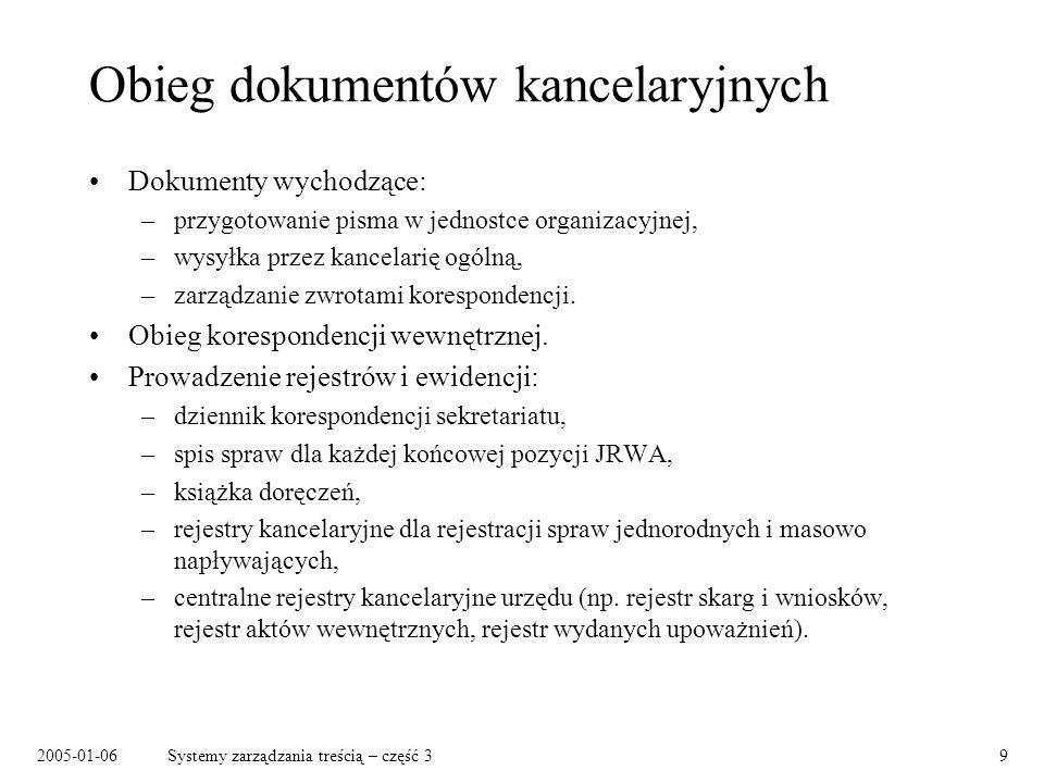 2005-01-06Systemy zarządzania treścią – część 320 Gdzie szukać dalej Jakubowski, R., Wiadomo o co chodzi Computerworld Polska, nr 33/636, 14 września 2004 JSR-170: Content Repository API for Java.