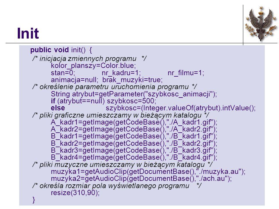 Init public void init() { /* inicjacja zmiennych programu */ kolor_planszy=Color.blue; stan=0; nr_kadru=1; nr_filmu=1; animacja=null; brak_muzyki=true