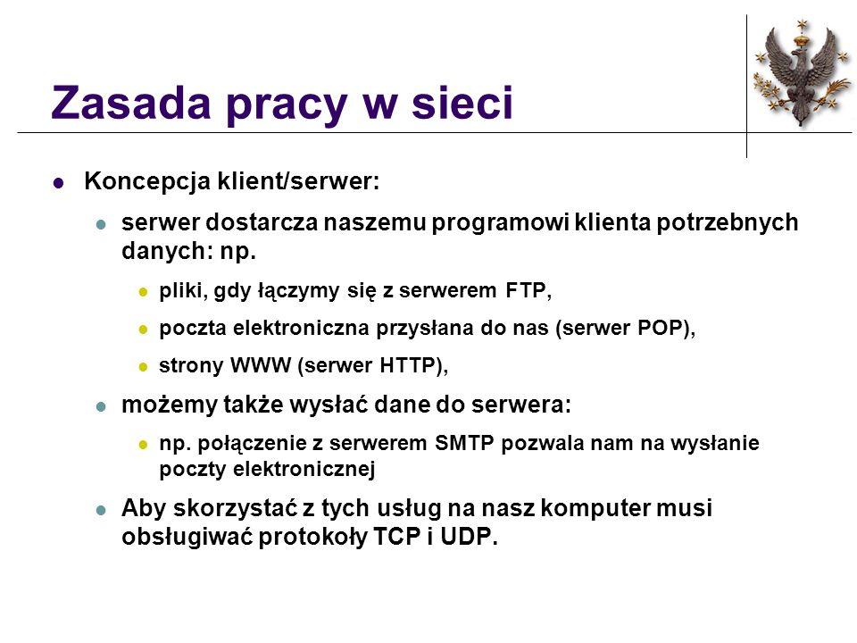 Zasada pracy w sieci Koncepcja klient/serwer: serwer dostarcza naszemu programowi klienta potrzebnych danych: np. pliki, gdy łączymy się z serwerem FT