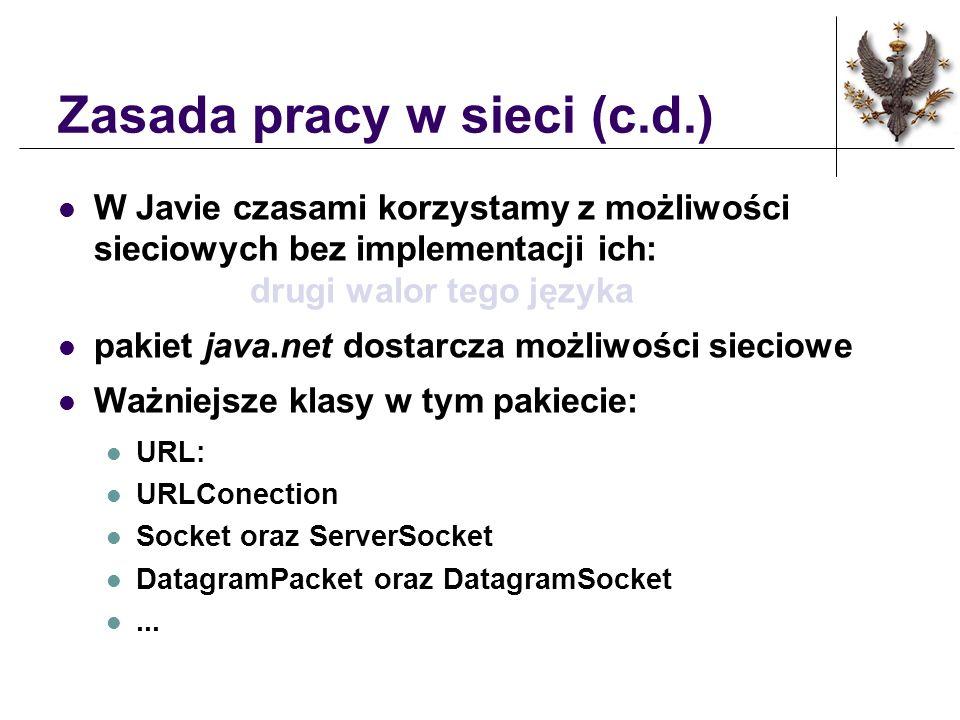 Zasada pracy w sieci (c.d.) W Javie czasami korzystamy z możliwości sieciowych bez implementacji ich: drugi walor tego języka pakiet java.net dostarcz