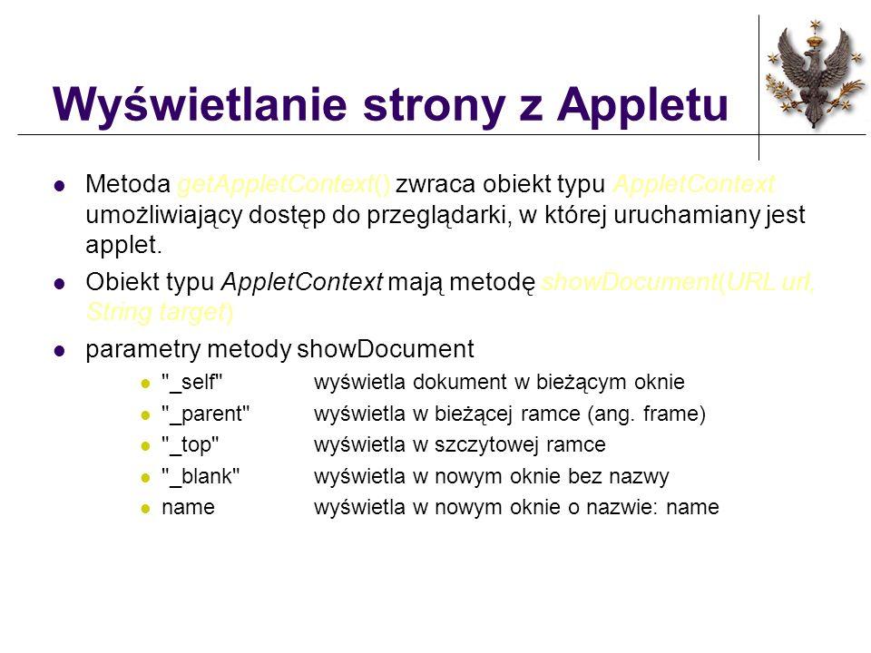 Wyświetlanie strony z Appletu Metoda getAppletContext() zwraca obiekt typu AppletContext umożliwiający dostęp do przeglądarki, w której uruchamiany je