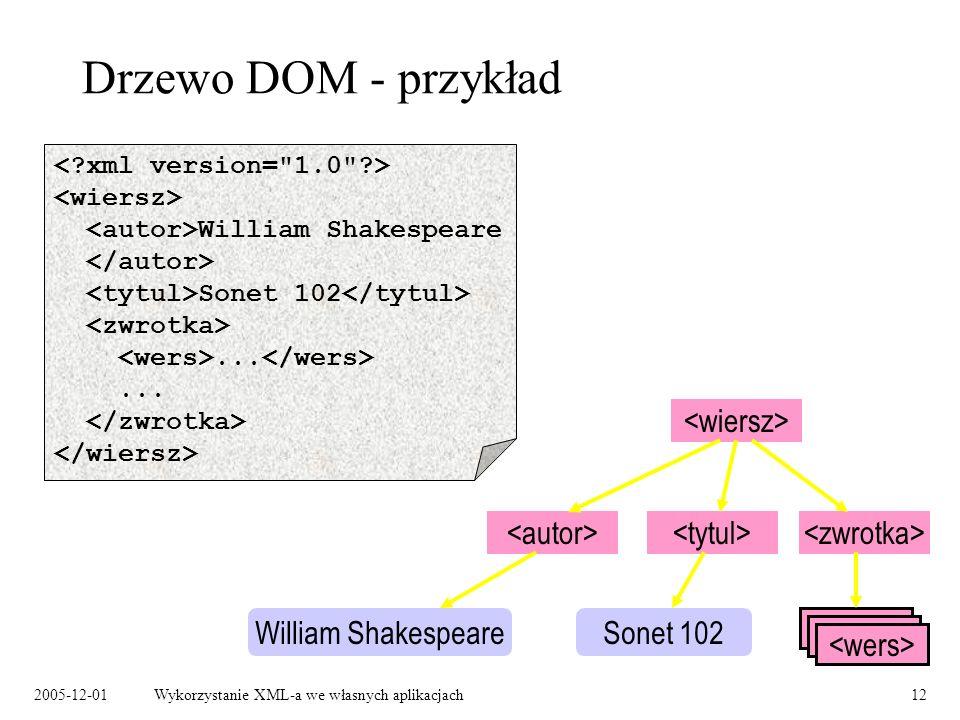 2005-12-01Wykorzystanie XML-a we własnych aplikacjach12 Drzewo DOM - przykład William Shakespeare Sonet 102... William ShakespeareSonet 102