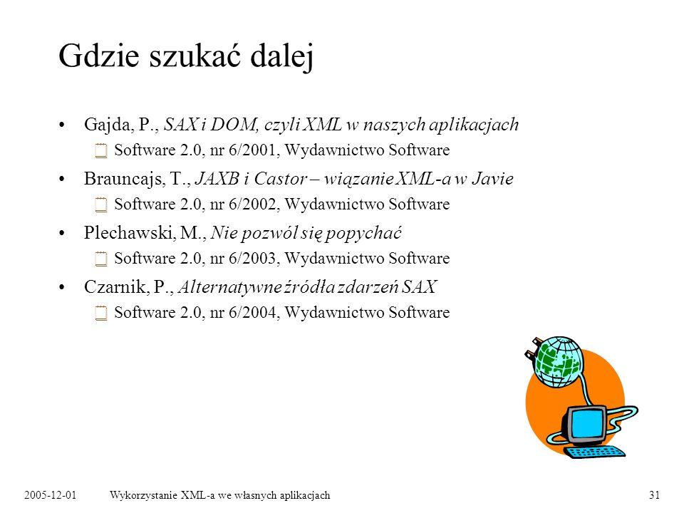 2005-12-01Wykorzystanie XML-a we własnych aplikacjach31 Gdzie szukać dalej Gajda, P., SAX i DOM, czyli XML w naszych aplikacjach Software 2.0, nr 6/2001, Wydawnictwo Software Brauncajs, T., JAXB i Castor – wiązanie XML-a w Javie Software 2.0, nr 6/2002, Wydawnictwo Software Plechawski, M., Nie pozwól się popychać Software 2.0, nr 6/2003, Wydawnictwo Software Czarnik, P., Alternatywne źródła zdarzeń SAX Software 2.0, nr 6/2004, Wydawnictwo Software