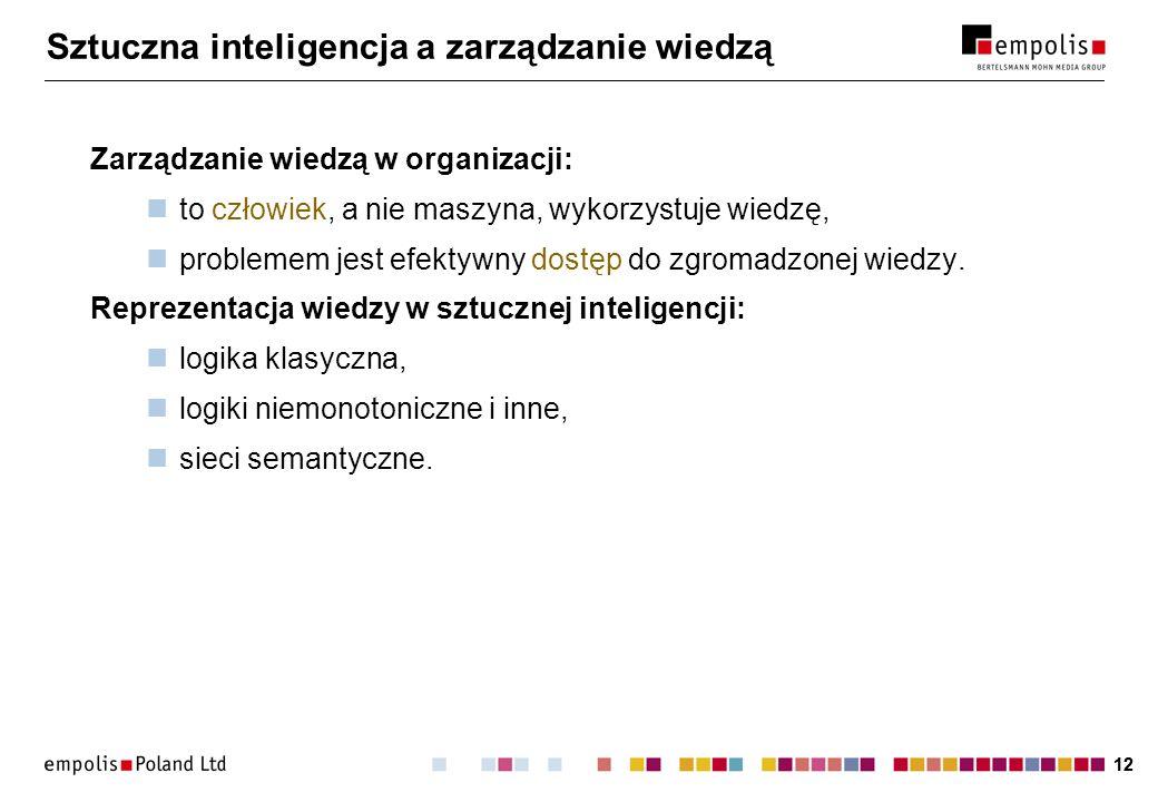 12 Sztuczna inteligencja a zarządzanie wiedzą Zarządzanie wiedzą w organizacji: to człowiek, a nie maszyna, wykorzystuje wiedzę, problemem jest efekty