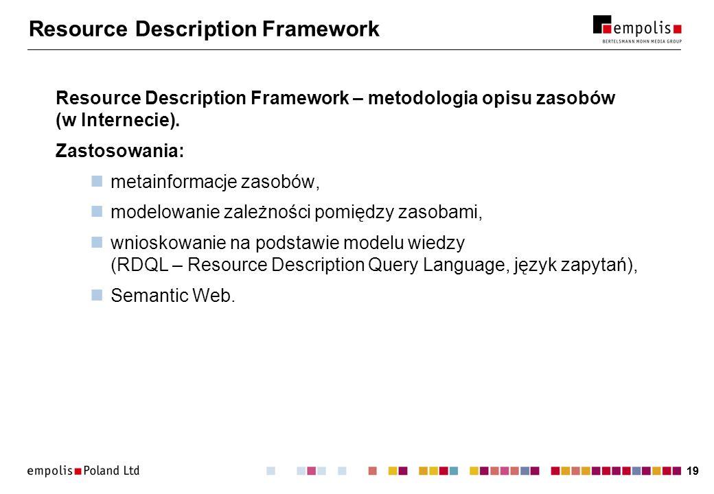19 Resource Description Framework Resource Description Framework – metodologia opisu zasobów (w Internecie). Zastosowania: metainformacje zasobów, mod