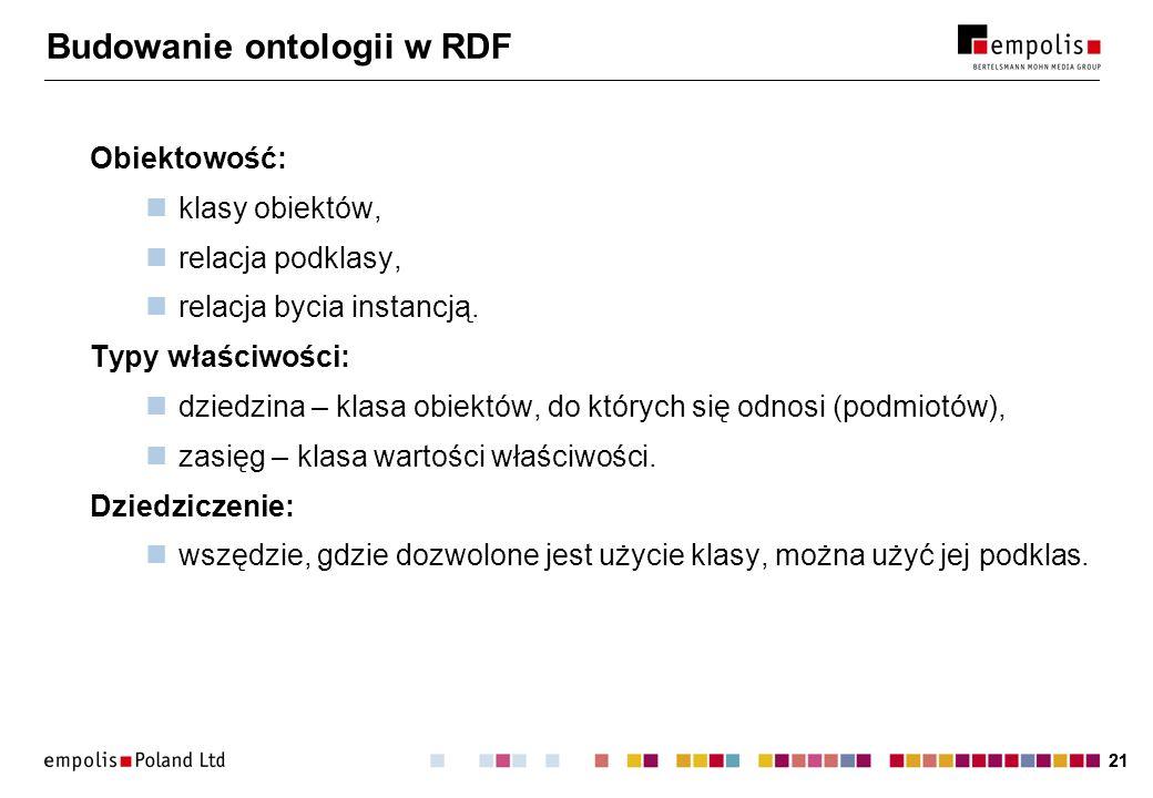 21 Budowanie ontologii w RDF Obiektowość: klasy obiektów, relacja podklasy, relacja bycia instancją. Typy właściwości: dziedzina – klasa obiektów, do