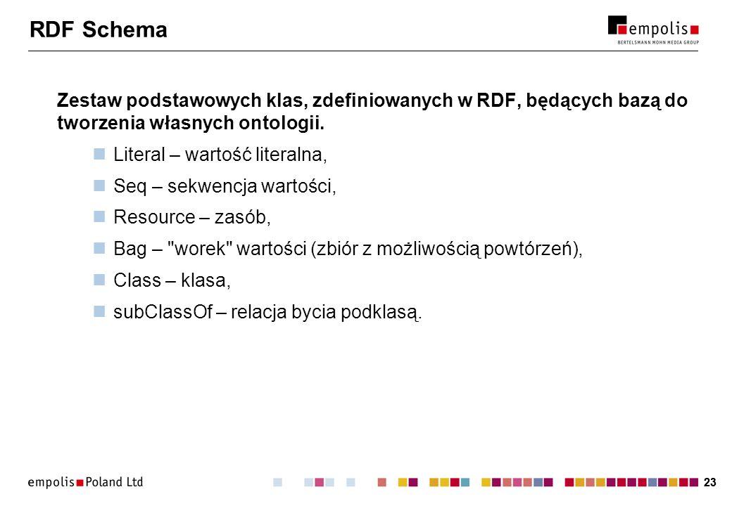 23 RDF Schema Zestaw podstawowych klas, zdefiniowanych w RDF, będących bazą do tworzenia własnych ontologii. Literal – wartość literalna, Seq – sekwen