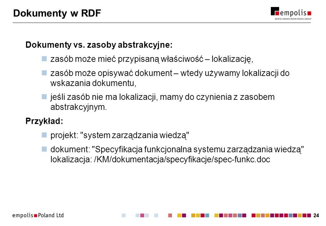 24 Dokumenty w RDF Dokumenty vs. zasoby abstrakcyjne: zasób może mieć przypisaną właściwość – lokalizację, zasób może opisywać dokument – wtedy używam