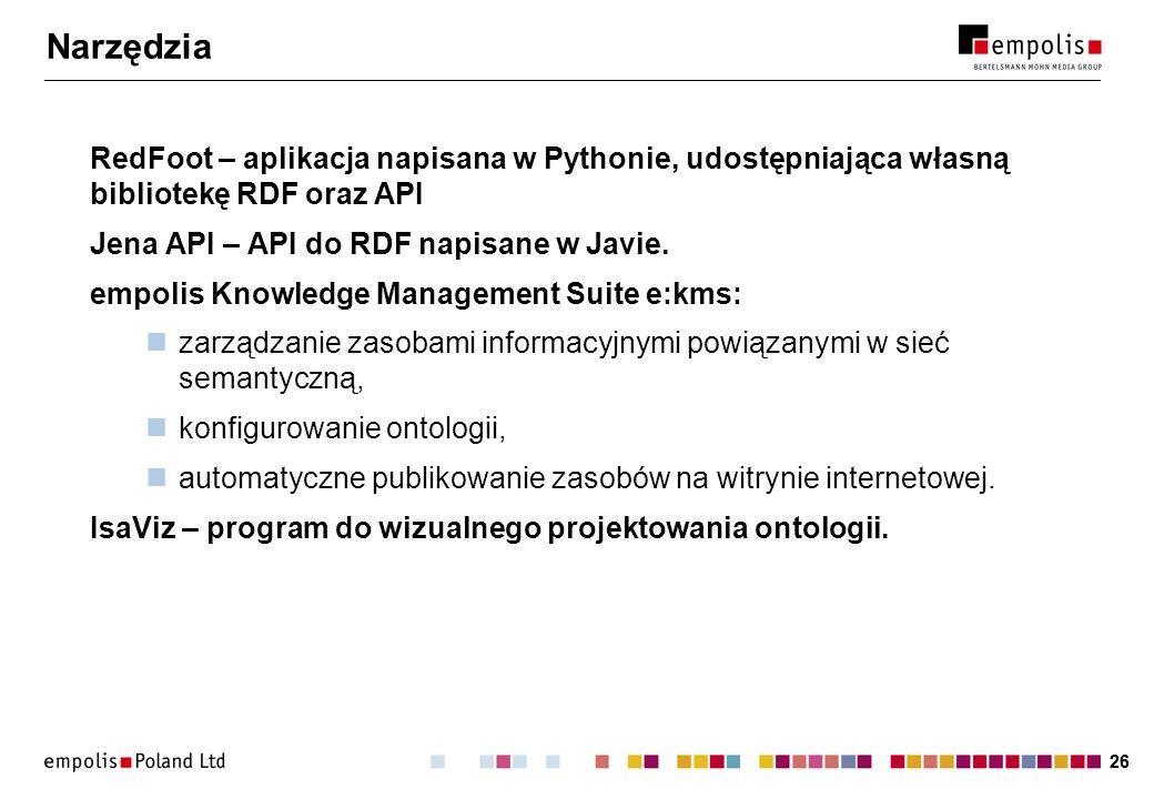 26 Narzędzia RedFoot – aplikacja napisana w Pythonie, udostępniająca własną bibliotekę RDF oraz API Jena API – API do RDF napisane w Javie. empolis Kn