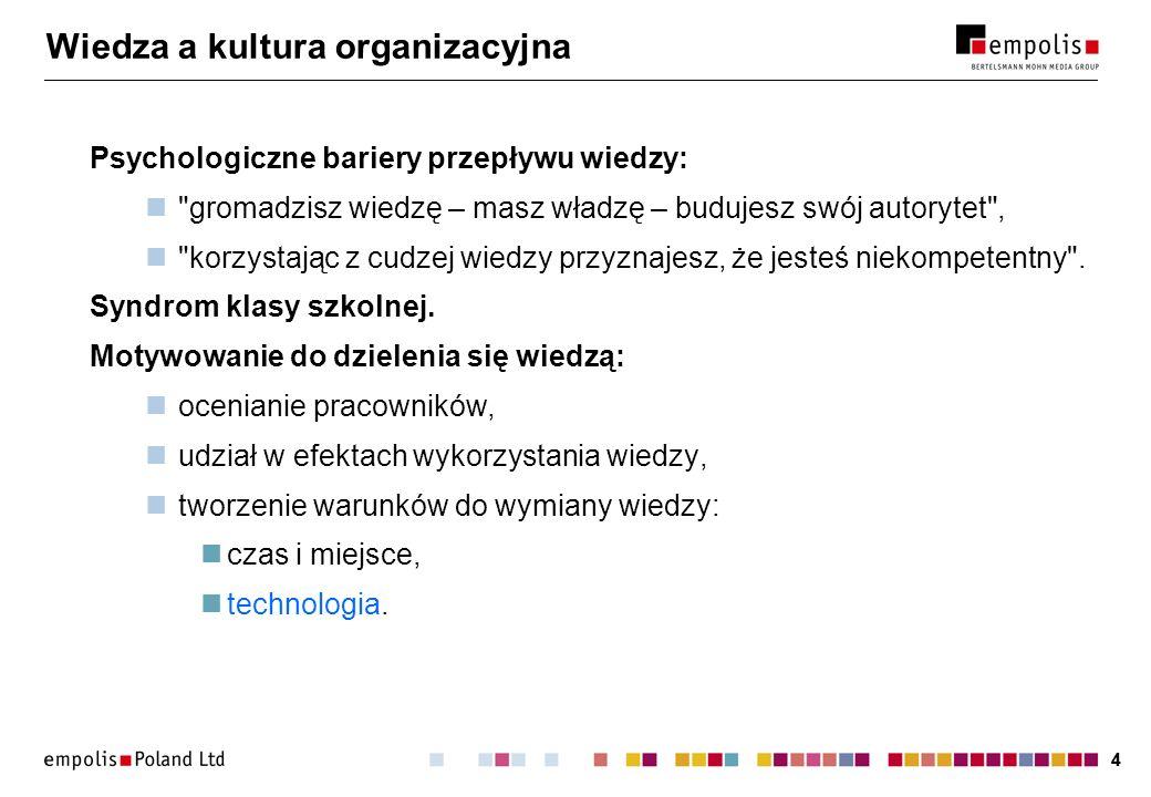 44 Wiedza a kultura organizacyjna Psychologiczne bariery przepływu wiedzy: