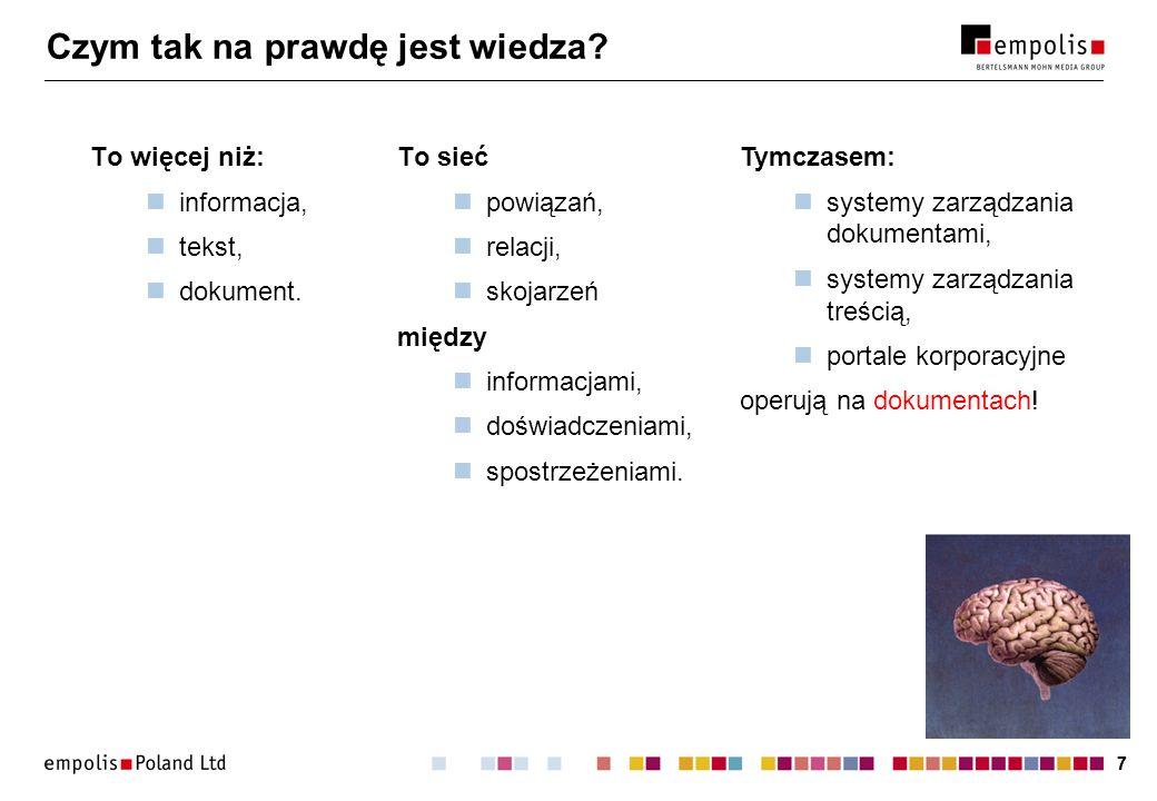 18 Idealny system zarządzania wiedzą Funkcjonalność portalu korporacyjnego plus: zasoby opisane mapą wiedzy: interfejs aktualizacji mapy wiedzy, nawigacja; wyszukiwanie wsparte modelem wiedzy: zadawanie zapytań w języku naturalnym, rozpoznawanie polskiej odmiany wyrazów.