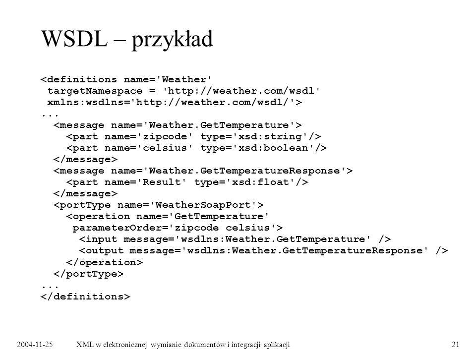 2004-11-25XML w elektronicznej wymianie dokumentów i integracji aplikacji21 WSDL – przykład......