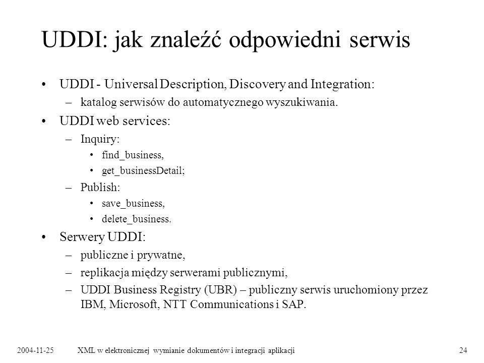 2004-11-25XML w elektronicznej wymianie dokumentów i integracji aplikacji24 UDDI: jak znaleźć odpowiedni serwis UDDI - Universal Description, Discovery and Integration: –katalog serwisów do automatycznego wyszukiwania.