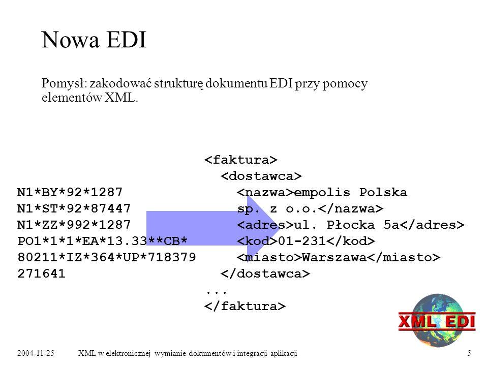 2004-11-25XML w elektronicznej wymianie dokumentów i integracji aplikacji5 Nowa EDI Pomysł: zakodować strukturę dokumentu EDI przy pomocy elementów XML.