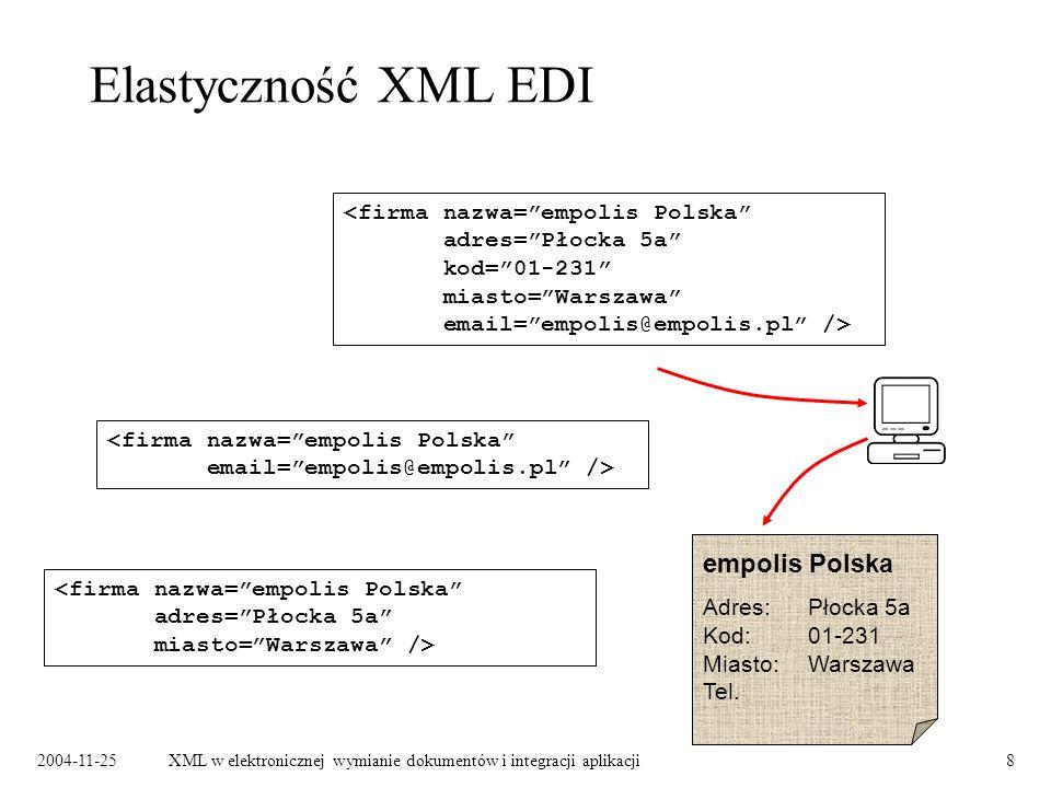 2004-11-25XML w elektronicznej wymianie dokumentów i integracji aplikacji9 XML EDI a przeglądarki internetowe Najnowsze wersje przeglądarek wspomagają wyświetlanie dokumentów XML.