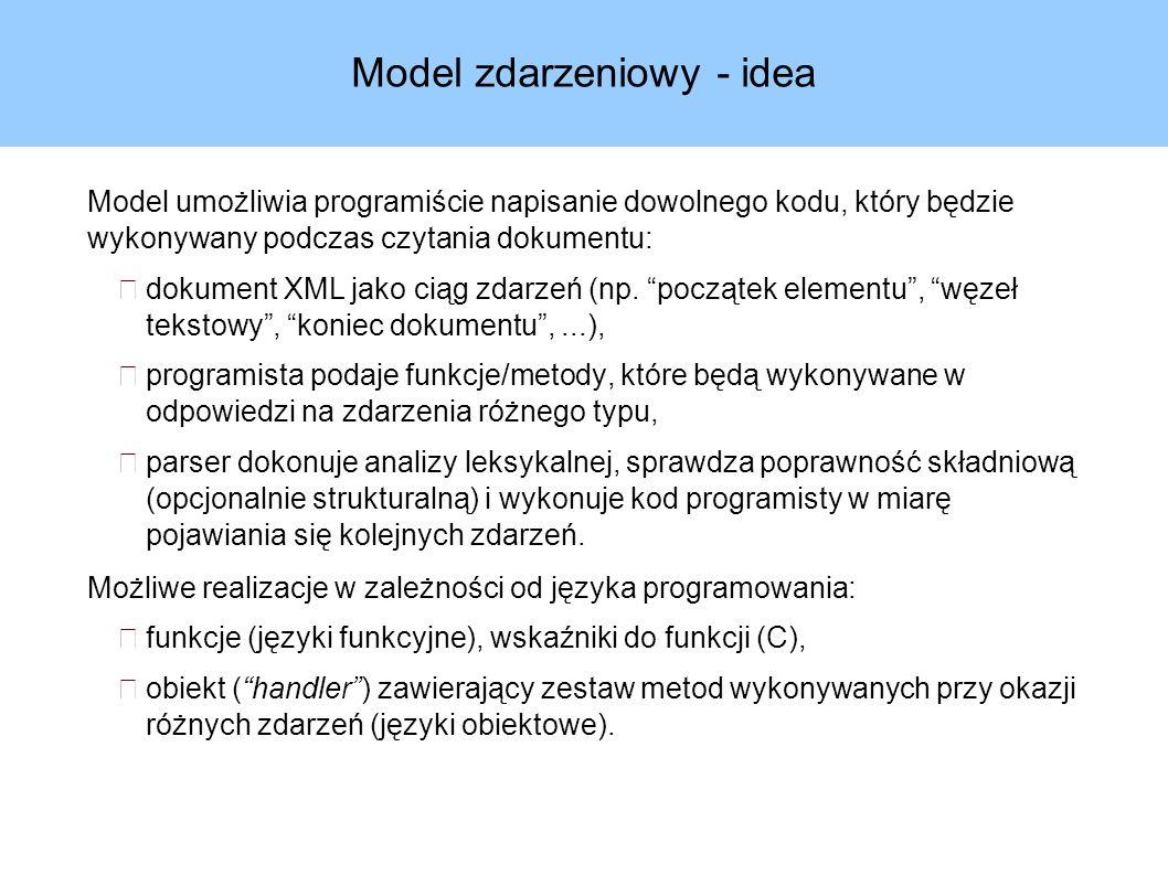 Model zdarzeniowy - idea Model umożliwia programiście napisanie dowolnego kodu, który będzie wykonywany podczas czytania dokumentu: dokument XML jako ciąg zdarzeń (np.