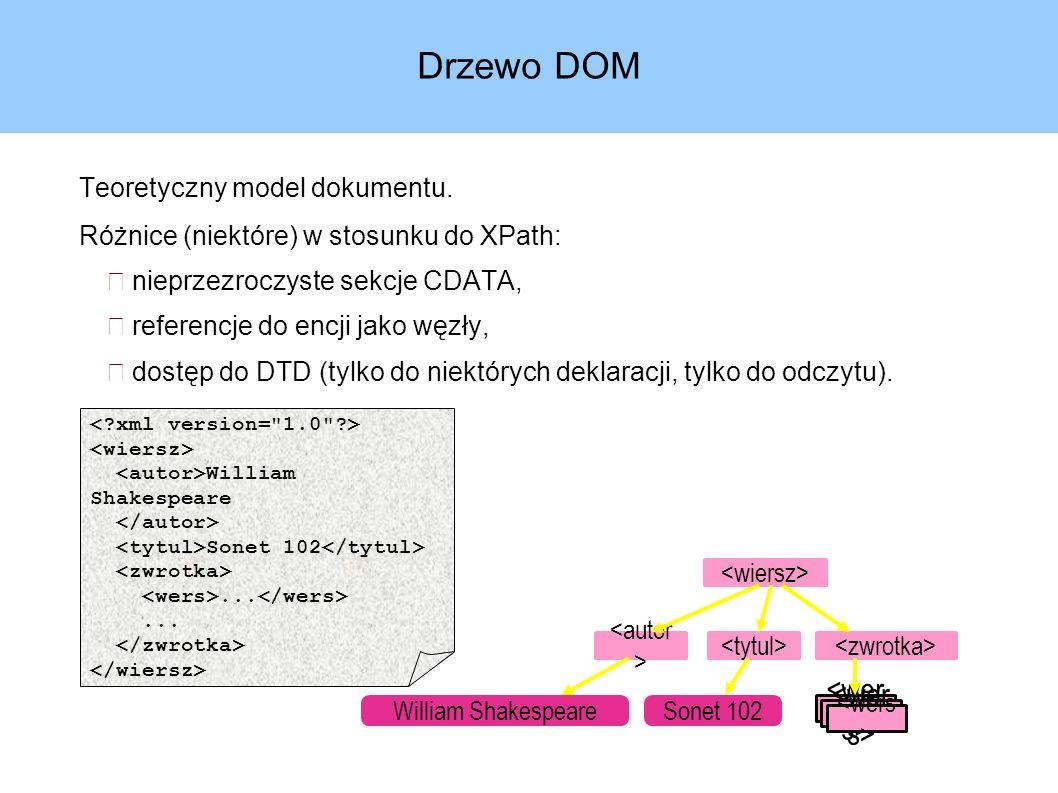 Przykład – klasy generowane w JAXB (2) Schemat dokumentu: Wygenerowane interfejsy: Grupa rozszerza GrupaType i Element GrupaType List getLOrS() String getWazne() void setWazne(String)