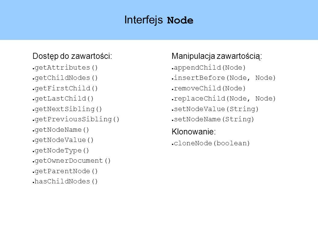Interfejs Node Dostęp do zawartości: getAttributes() getChildNodes() getFirstChild() getLastChild() getNextSibling() getPreviousSibling() getNodeName() getNodeValue() getNodeType() getOwnerDocument() getParentNode() hasChildNodes() Manipulacja zawartością: appendChild(Node) insertBefore(Node, Node) removeChild(Node) replaceChild(Node, Node) setNodeValue(String) setNodeName(String) Klonowanie: cloneNode(boolean)