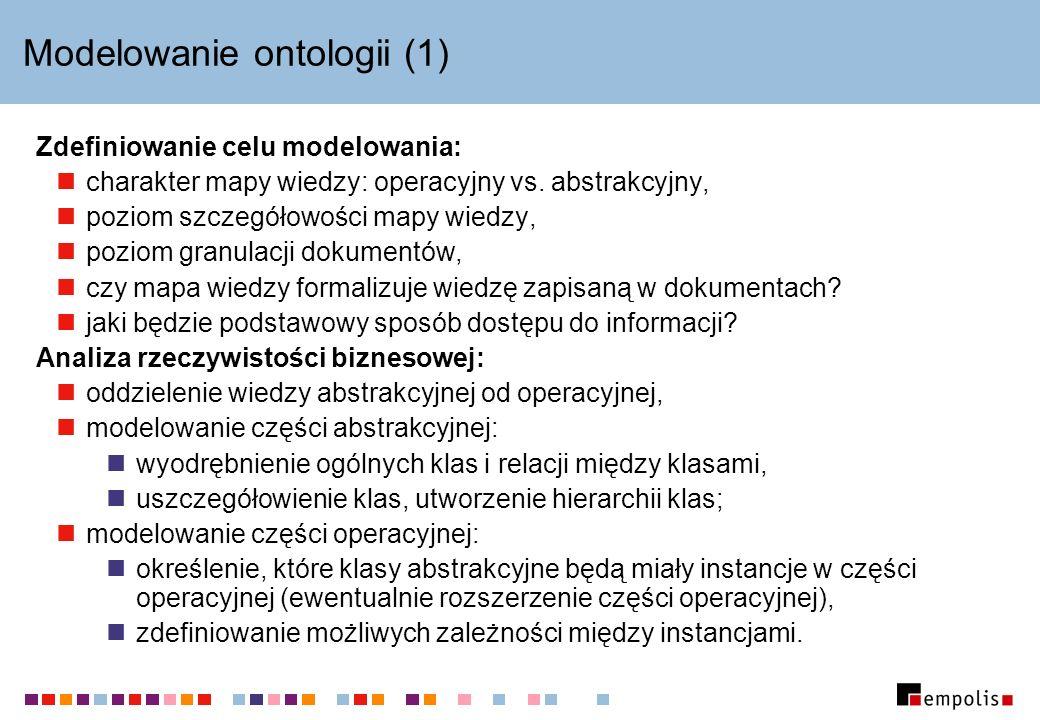 Modelowanie ontologii (1) Zdefiniowanie celu modelowania: charakter mapy wiedzy: operacyjny vs. abstrakcyjny, poziom szczegółowości mapy wiedzy, pozio