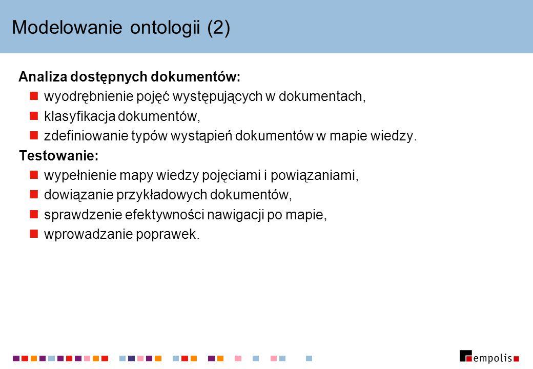 Modelowanie ontologii (2) Analiza dostępnych dokumentów: wyodrębnienie pojęć występujących w dokumentach, klasyfikacja dokumentów, zdefiniowanie typów